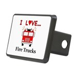 I Love Fire Trucks Rectangular Hitch Cover