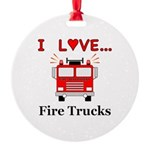 I Love Fire Trucks Round Ornament