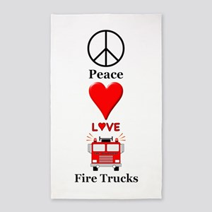 Peace Love Fire Trucks Area Rug