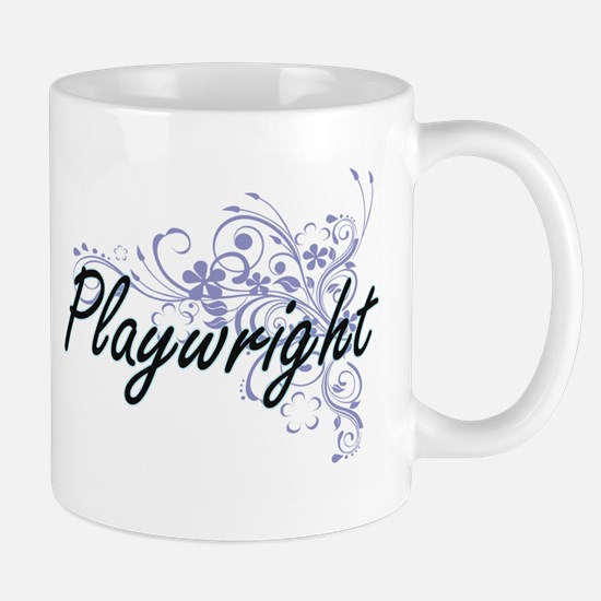 Playwright Artistic Job Design with Flowers Mugs