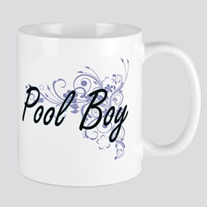 Pool Boy Artistic Job Design with Flowers Mugs