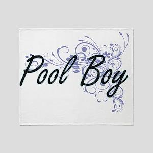 Pool Boy Artistic Job Design with Fl Throw Blanket