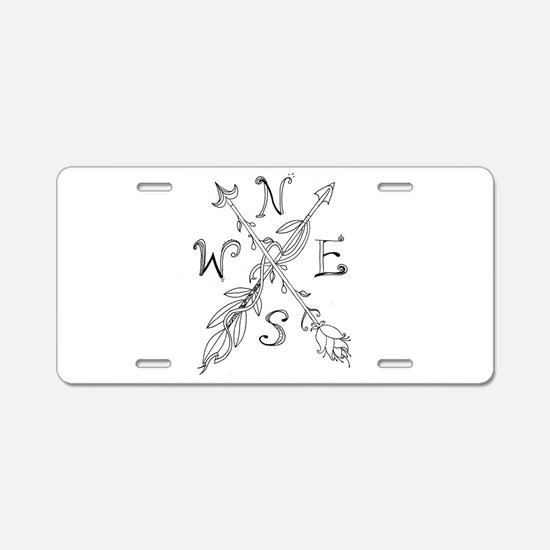Gypsy Arrow Compass Aluminum License Plate