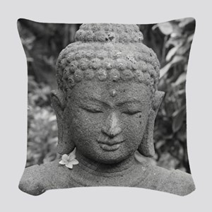 BUDDHA IN GREY Woven Throw Pillow