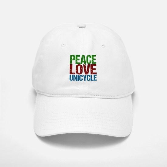 Peace Love Unicycle Baseball Baseball Cap