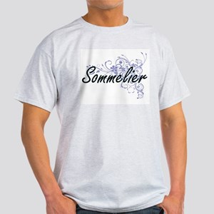 Sommelier Artistic Job Design with Flowers T-Shirt