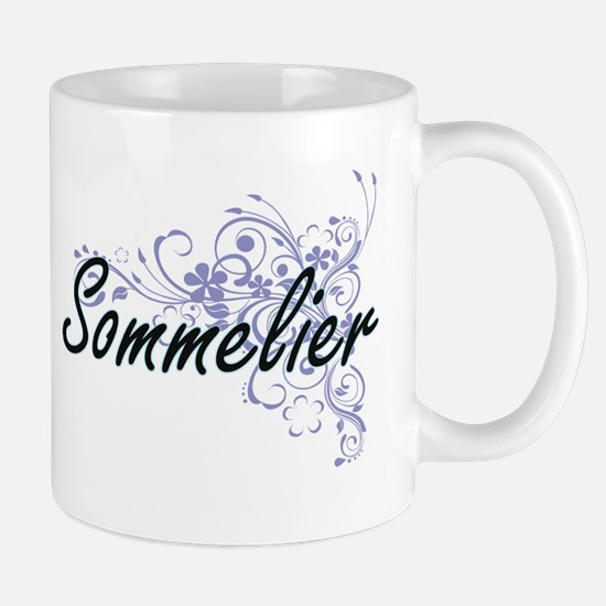 Sommelier Artistic Job Design with Flowers Mugs