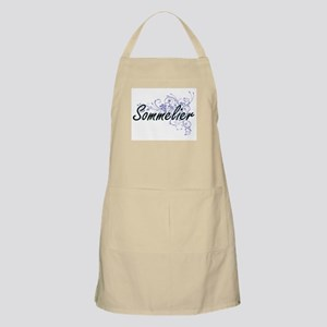 Sommelier Artistic Job Design with Flowers Apron