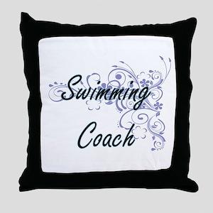 Swimming Coach Artistic Job Design wi Throw Pillow