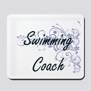 Swimming Coach Artistic Job Design with Mousepad