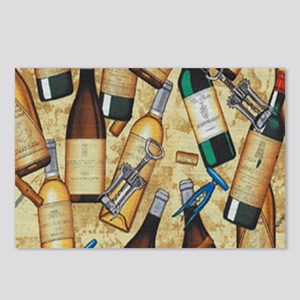 Wine Bottle and Cork Scre Postcards (Package of 8)