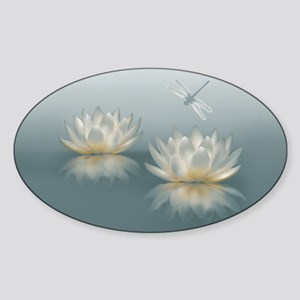 Lotus and Dragonfly Sticker (Oval)