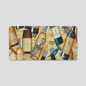 Wine Bottle and Cork Screws Aluminum License Plate