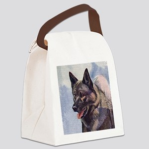 Norwegian Elkhound Painting Canvas Lunch Bag