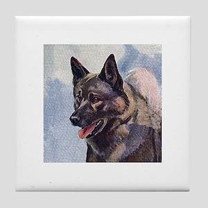 Norwegian Elkhound Painting Tile Coaster
