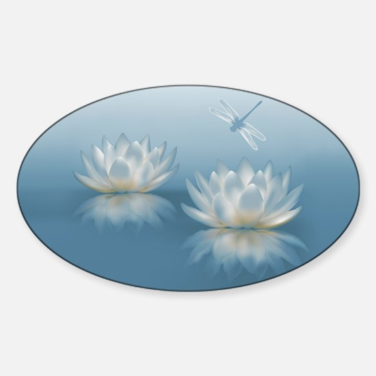 Blue Lotus and Dragonfly Sticker (Oval)