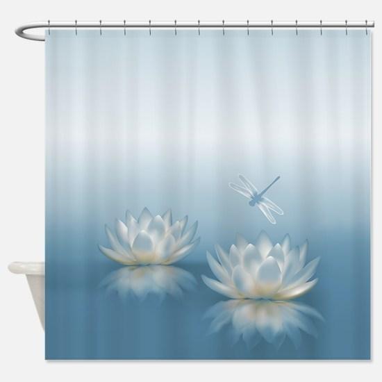 Interesting Dragon Fly Shower Curtain. Blue Lotus and Dragonfly Shower Curtain Dragon Fly Curtains  CafePress