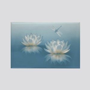Blue Lotus and Dragonfly Rectangle Magnet