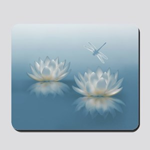 Blue Lotus and Dragonfly Mousepad