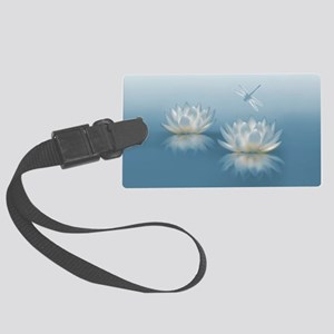 Blue Lotus and Dragonfly Large Luggage Tag
