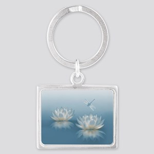 Blue Lotus and Dragonfly Landscape Keychain