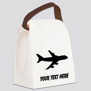 Airplane Silhouette Canvas Lunch Bag
