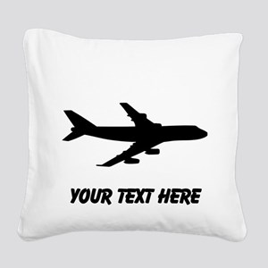 Airplane Silhouette Square Canvas Pillow