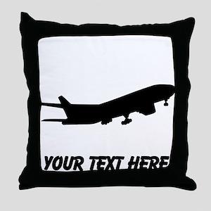 Airplane Silhouette Throw Pillow