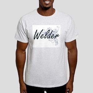 Welder Artistic Job Design with Flowers T-Shirt
