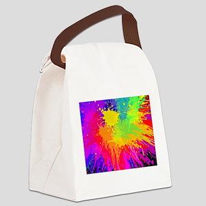 Colourful paint splatter Canvas Lunch Bag