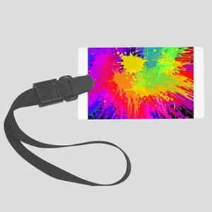Colourful paint splatter Large Luggage Tag