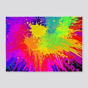 Colourful paint splatter 5'x7'Area Rug
