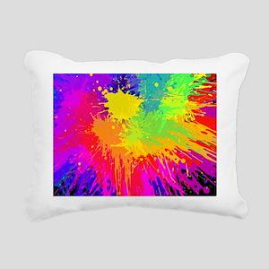 Colourful paint splatter Rectangular Canvas Pillow