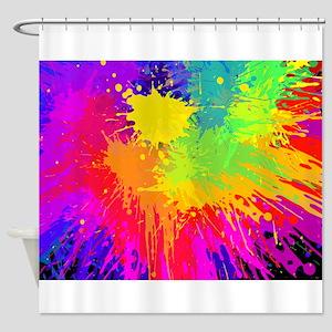 Colourful paint splatter Shower Curtain