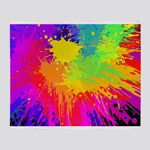 Colourful paint splatter Throw Blanket