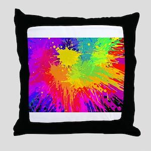 Colourful paint splatter Throw Pillow