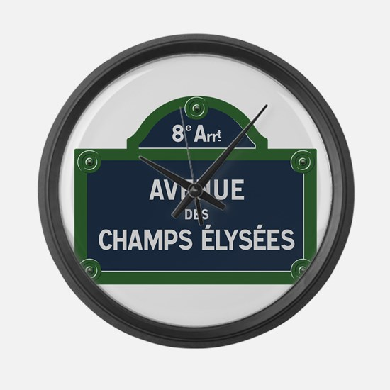Avenue des Champs Elysees street Large Wall Clock