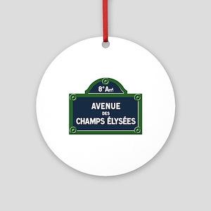 Avenue des Champs Elysees street si Round Ornament