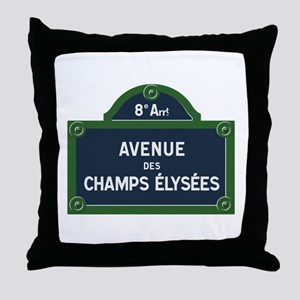 Avenue des Champs Elysees street sign Throw Pillow