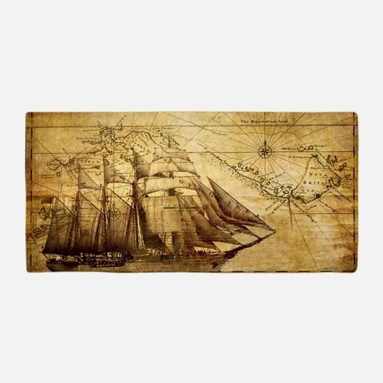 Old Ship Map Beach Towel