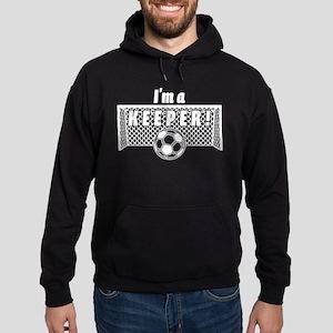 Im a Keeper soccer fancy white Hoodie (dark)