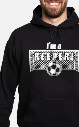 Im a Keeper soccer fancy white.png Hoodie (dark)