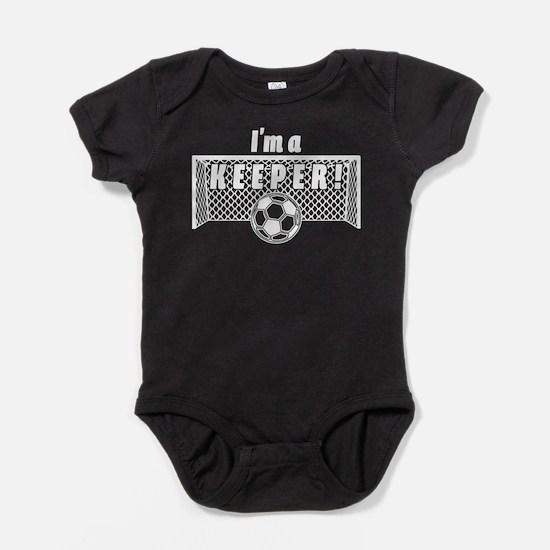 Im a Keeper soccer fancy white.png Baby Bodysuit