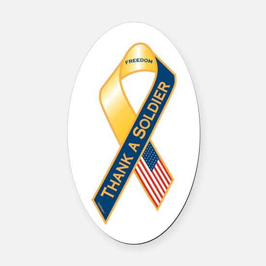 Thank A Soldier Ribbon Oval Car Magnet