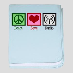 Peace Love Radio baby blanket