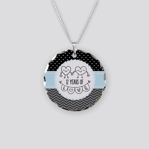 12th Anniversary Gift For He Necklace Circle Charm