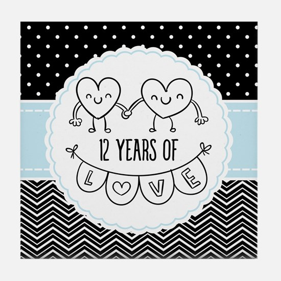 12th Anniversary Gift For Her Tile Coaster