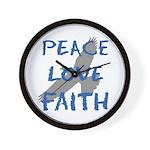 Peace Love Faith Wall Clock