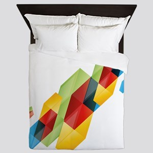 3d colourful shapes Queen Duvet