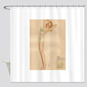 August blond pin-up Shower Curtain